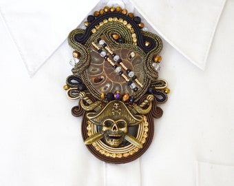 Mythical creature the dragon Brooch with filigree Dragon Men/'s brooch. Embroidered soutache brooch