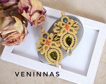 Soutache Earrings with Swarovski Crystals gift for her