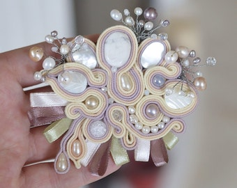 Soutache Brooch with Pearls Handmade Jewelry with Pearls