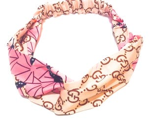 Pink flowered headband