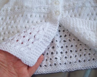 White Matinee Jacket , Hand knitted , 3 to 6 month , Soft Lacey Babies Jacket , Baby Girls Matinee Coat