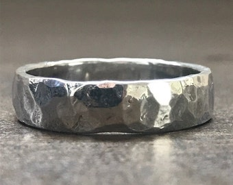 textured silver wedding band