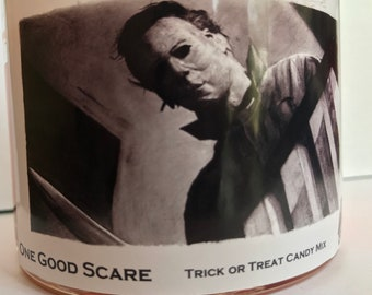 One Good Scare-Michael Myers Inspired 12.7 Ounce Soy Blend Candle-Candy Corn & Trick or Treat Candy Mix Scent