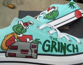 7299133e8a8e42 Dr. Seuss the Grinch hand painted converse shoes Christmas and Birthday gift