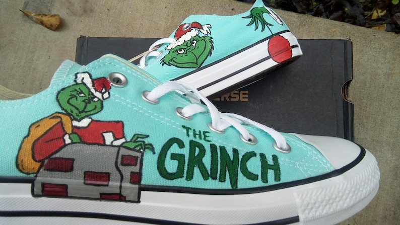 size 40 be8fa dab4a Dr. Seuss the Grinch hand painted converse shoes Christmas and   Etsy