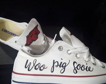 Custom Sports team converse shoes arkansas razorback woo pig sooie footbal fanatic shoes