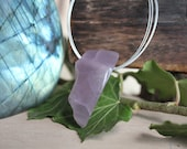 Lavender chalcedony raw and polished pendant