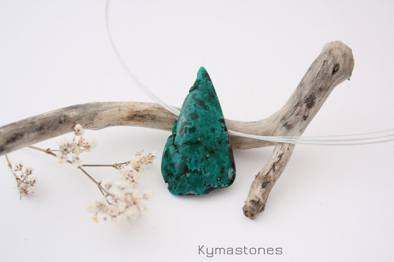 Beautiful polished dioptase in pendant silver