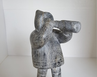 Rare Soapstone Carving of Inuit Standing on a Rock with Telescope