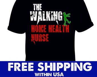 8c06ddc389c9a Home Health Nurse Walking Distressed Costume, Halloween scary tshirt,  Zombie Clothing Nursing, trick gift treat, funny vintage Pumpkin