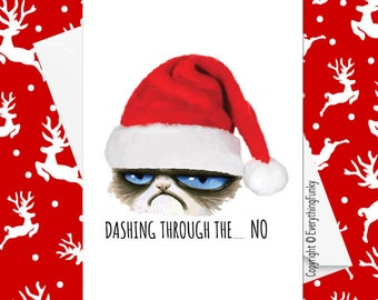 Cat christmas cards etsy dashing through the no grumpy cat christmas card alternative greeting card xmas card humorous card funny card m4hsunfo
