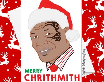 merry chrithmith mike tyson funny celebrity christmas card alternative greeting card xmas card humorous card funny card