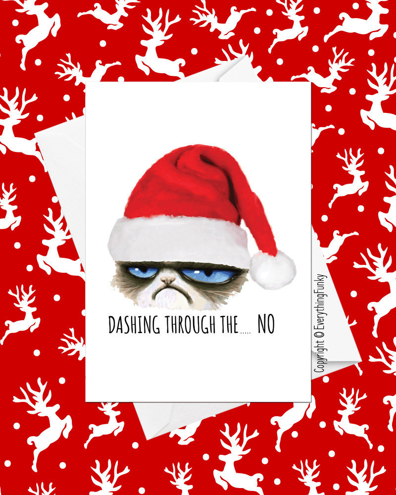 Dashing Through The No Grumpy Cat Christmas Card / | Etsy