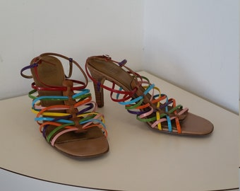 86b16e180 Sexy Strappy Mootsie Tootsie High Heel Sandals  Multi-colored Vinyl Straps   Beautiful Vintage Condition  Very Gently Used  Size 8 1 2