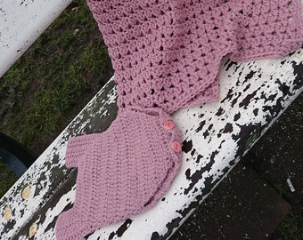Handmade crochet, Baby girl blanket and romper/body set, wool, soft,