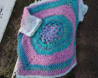 Handmade crochet, women's pullover, top, oversized, jumper,,multicolour, mohair, bohemaian style,
