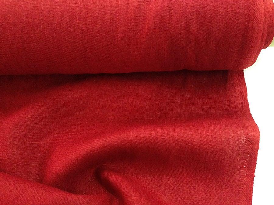 100 % 240gsm. toile de lin 240gsm. % Poids lourd de rouge à lèvres rouge, épais, dense lin Leinen Lino ce6d7b