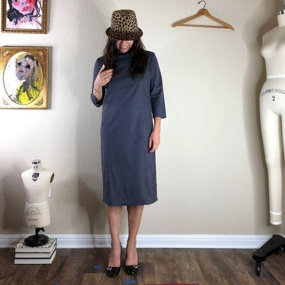 Vivienne Tam Vintage Mock Neck Midi Dress