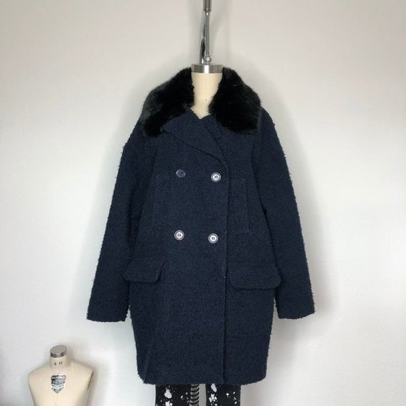 Tommy Hilfiger Fur Collar Wool Pea Coat Boucle