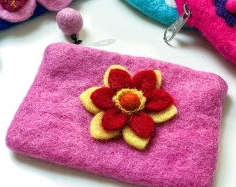Handmade felt coin purse