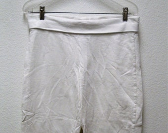 TOMMY BAHAMA RELAXED Women's Solid White 100% Cotton Flip Waist Lounge/Gym Capris Size M-L
