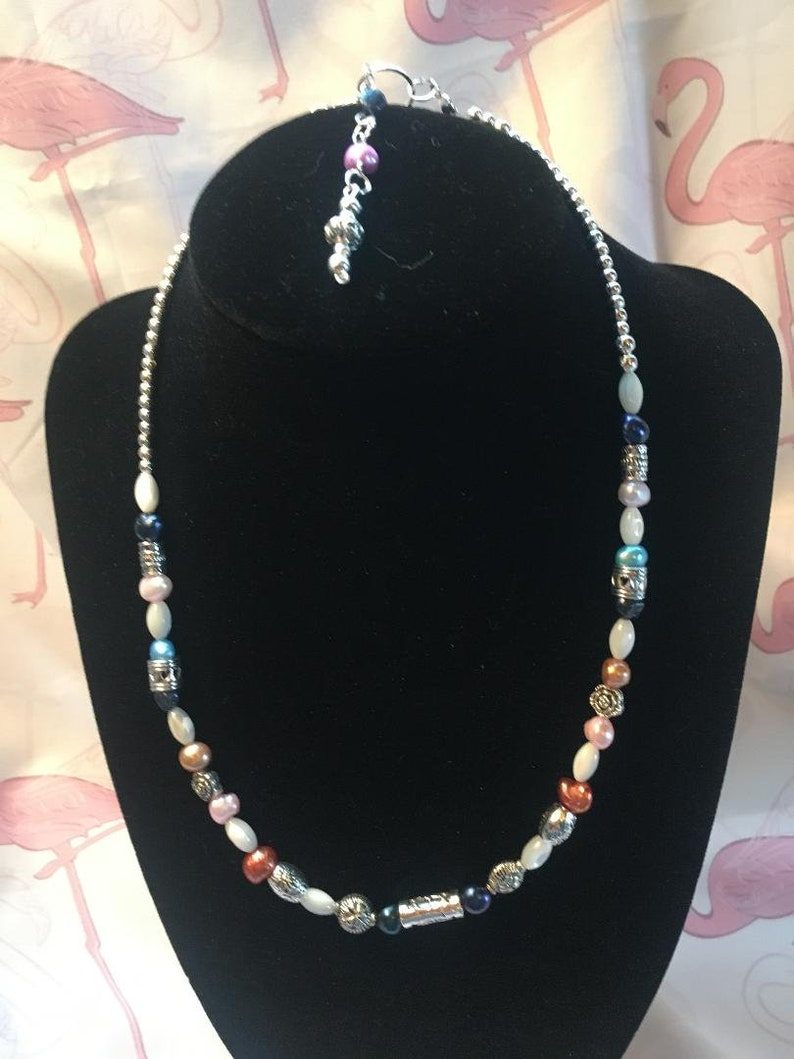Boho Chic Multi Color Fresh Water Pearl with Tibetan Silver Accent Choker with Back Drop
