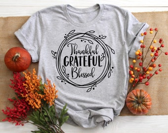 Thankful Grateful Blessed svg, Saying svg, Thanksgiving svg, Fall svg, Autumn svg, Floral Wreath svg, dxf, png, Print, Cut File, Download