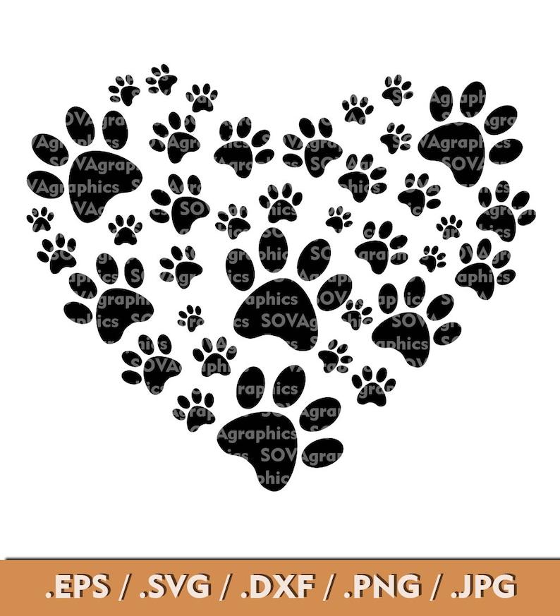 Download Paw svg Paw Heart svg Paw Love svg Paw Print svg Dog svg ...