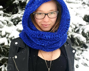 A Moonlit Walk at Midnight - 1 of a kind hand made/hand knit hooded cowl neck scarf 100% merino wool