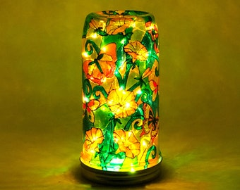 Glass Garden Light / Stained Glass Night Light / Hand Painted Glass / Battery Mood Light / Firefly Beach Studio