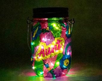 Aunt Memorial Light / Stained Glass Cemetery Light / Hand Painted Light / Solar Memorial Light / Personalized Light / Firefly Beach Studio