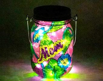 Mom Memorial Light / Stained Glass Cemetery Light / Graveside Light / Solar Memorial Light / Personalized Light / Firefly Beach Studio