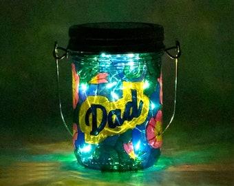 Dad Light / Stained Glass Light / Hand Painted Light / Solar Memorial Light / Father's Day Gift / Firefly Beach Studio