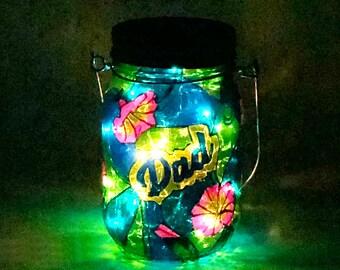 Dad Memorial Light / Stained Glass Cemetery Light / Hand Painted Light / Solar Memorial Light / Personalized Light / Firefly Beach Studio