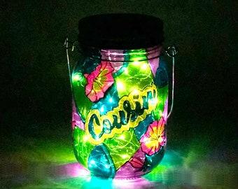 Cousin Memorial Light / Stained Glass Cemetery Light / Graveside Light / Solar Memorial Light / Personalized Light / Firefly Beach Studio