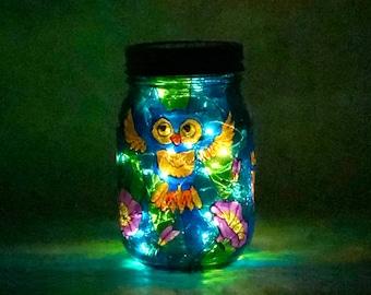 Owl Stained Glass Solar Light / Eco Friendly Glass Light / Stained Glass Light / Solar Garden Light / Firefly Beach Studio