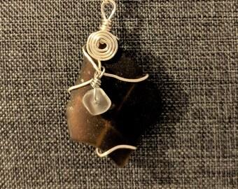 Brown sea glass pendant - Large