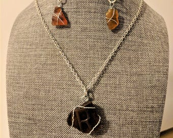Brown Sea glass pendant and earrings - Letter R