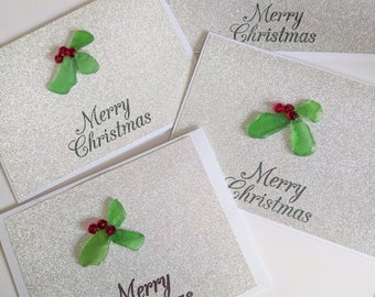 Sea glass Christmas cards 4 pack