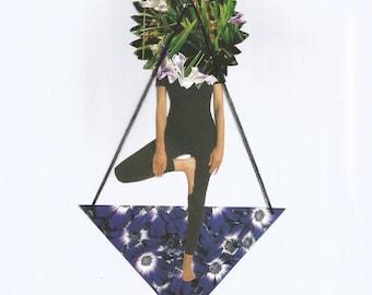 Original Collage Yoga Paper and thread