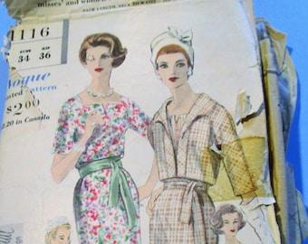 1960 Vogue Special Design # 4116   One Piece Dress and Bolero Size 14, Bust 34, Hip 36, Cut