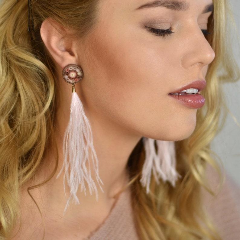 OOAK pink ostrich feather earrings Long fluffy tassel earrings image 0