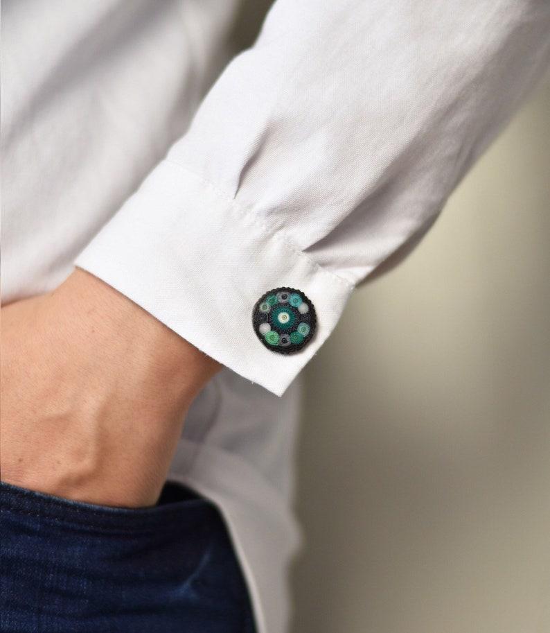 Mint green cufflinks for husband custom cufflinks image 0