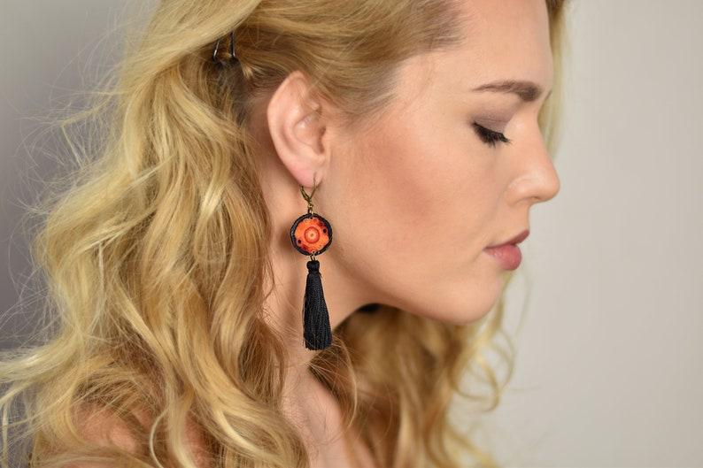 Orange OOAK tassel earrings fringe earrings mini tassel black image 0