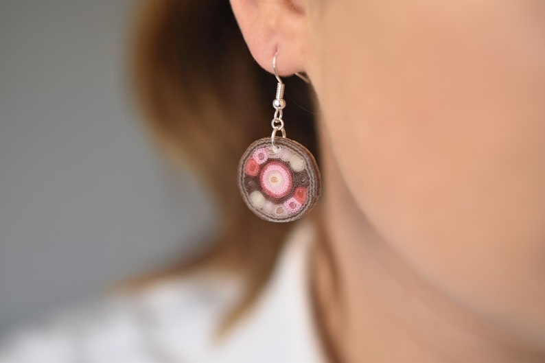 OOAK earrings Pink rose earrings Textile earrings  Blush image 0