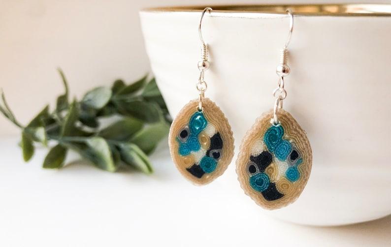 OOAK  textile earrings Small sky blue earrings Contemporary image 0
