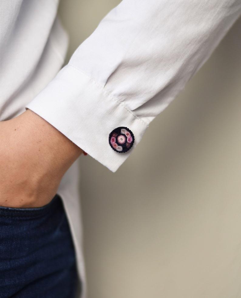 Sterling silver cufflinks unique shirt cufflinks pink groom image 0