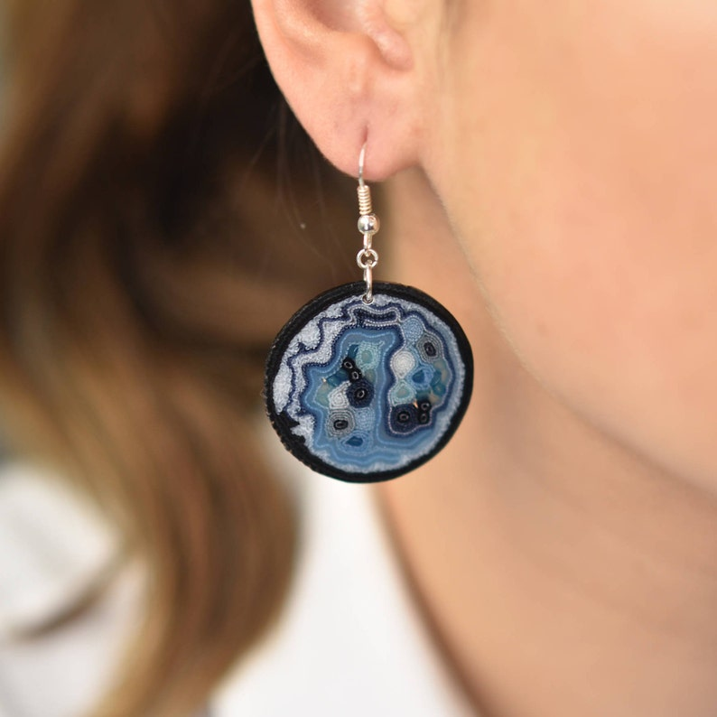 Royal blue earrings navy blue Earrings white earrings textile image 0