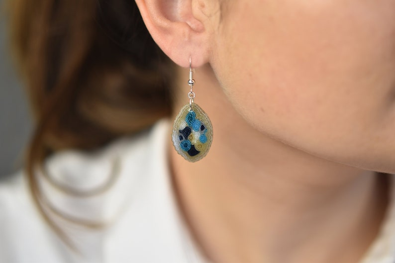 Small sky blue earrings Contemporary earrings Textile image 0
