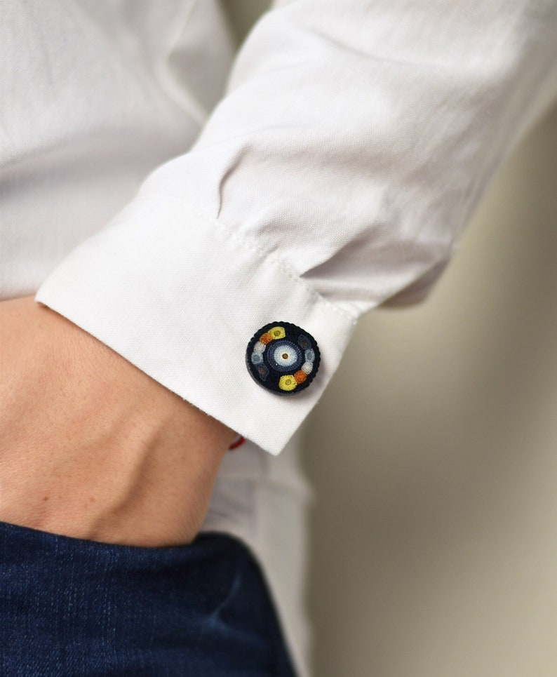 Colorful Round Cufflinks Blue And Yellow Cufflinks Silvered image 0